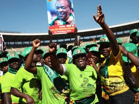 President Emmerson Mnangagwa speaks during the final rally of ZANU-PF ahead of the Zimbabwe elections on Monday at the National Sports Stadium on July 28, 2018 in Harare, Zimbabwe. Zimbabweans go to the polls on July 30th to vote for a new president in the first election since Robert Mugabe, who led the country for 37 years after it gained independence in 1980, was ousted from power last year.