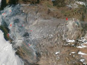 NASA satellite imagery shows how the smoke from the fires is spreading