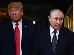 Donald Trump and Vladimir Putin held talks in Helsinki on Monday