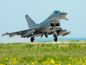 Two RAF Typhoons were launched from Romania. Pic: RAF