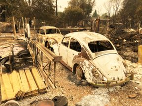 The remains after a wildfire swept through the town of Redding