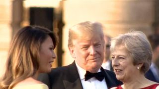 The Trumps arrive at Blenheim Palace