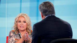 Roseanne Barr talks with Fox News talk show host Sean Hannity