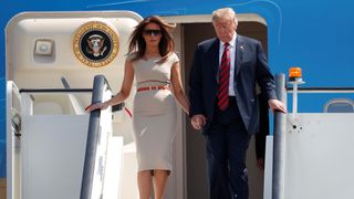 Donald and Melania Trump arrive at Stansted
