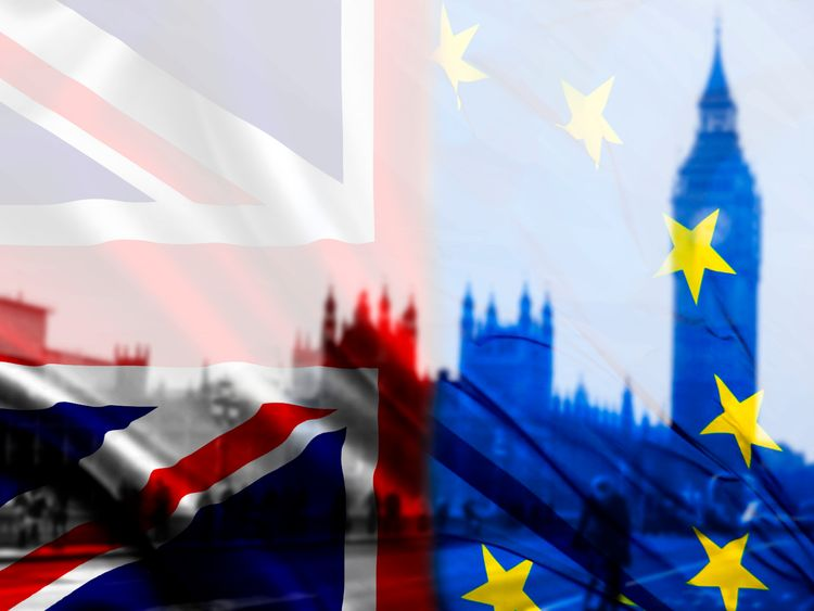 Brexit flags and Houses of Parliament