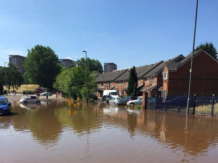 Around 100 homes have been flooded. Pic: West Midlands Fire
