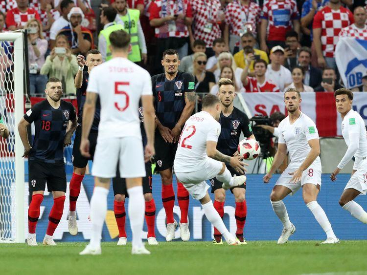 Kieran Trippier scores for England.