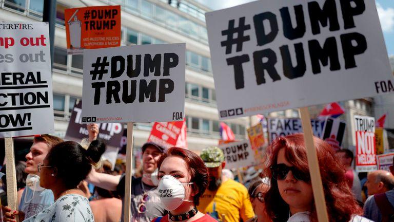 Trump protesters in London