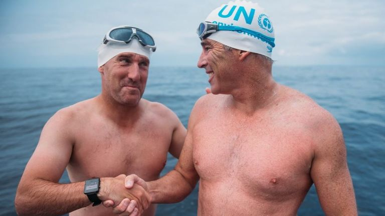 Lewis Pugh and guest swimmer Chris Coleman