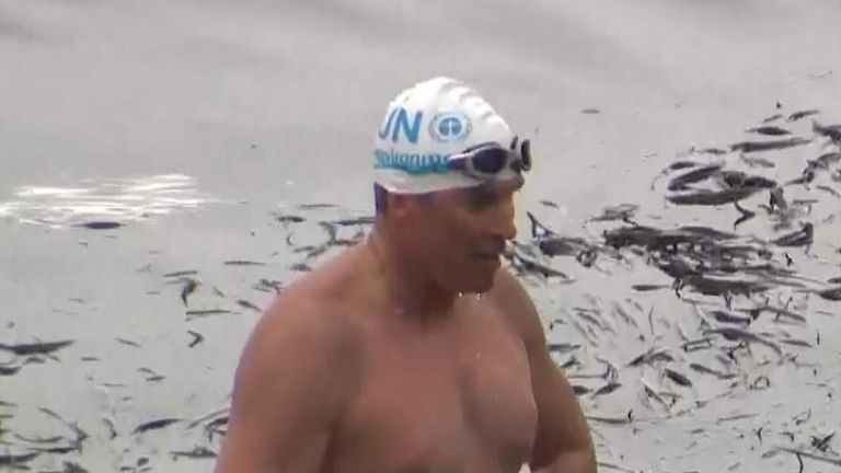 Lewis Pugh has swum to Plymouth, the city he was born in