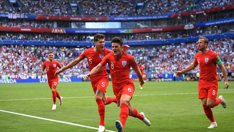 Harry Maguire of England celebrates after scoring his team's first goal during the 2018 FIFA World Cup Russia Quarter Final match against Sweden