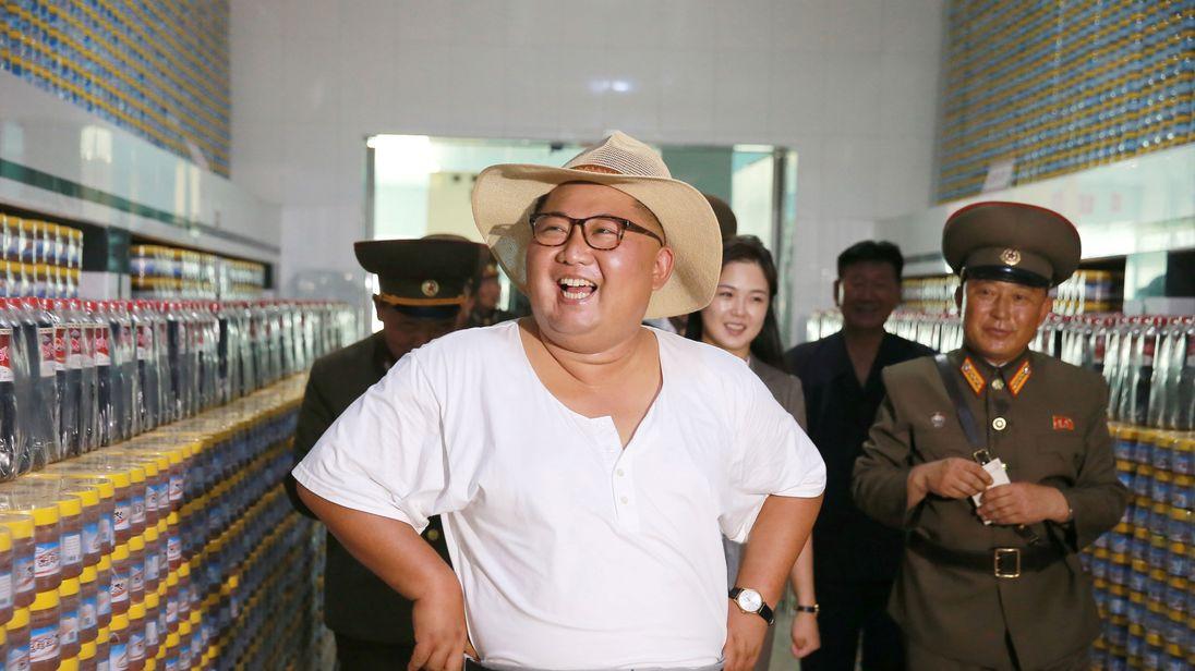 Leader Kim Jong Un visits a factory