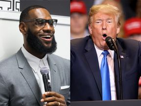 LeBron James (L) was insulted by Donald Trump on Twitter