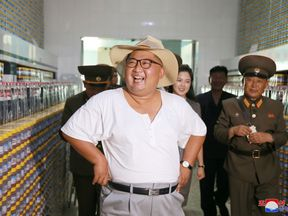 Leader Kim Jong Un visits a factory