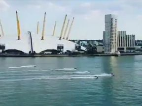 The chase went past the iconic O2 Arena which featured in a boat chase in 007's The World Is Not Enough. Pic: Novida Barnes