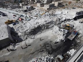 The explosion happened in Sarmada in Idlib province