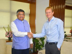 India's It Minister Ravi Shankar Prasad met WhatsApp CEO Chris Daniels