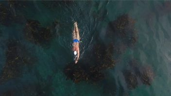 Lewis Pugh swam for 49 days.