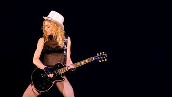 Madonna performs during her Sticky and Sweet Tour concert in Bucharest