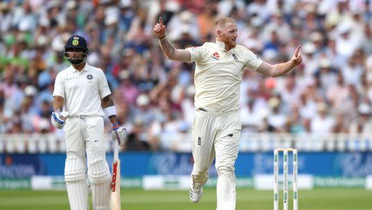 Ben Stokes of England celebrates dismissing Lokesh Rahul of India