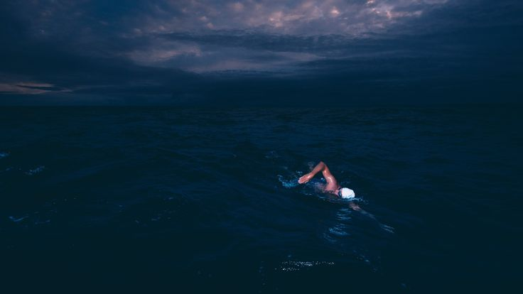 Lewis Pugh went out on a midnight swim. Pic: Kelvin Trautman