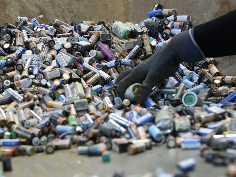 Batteries can be recycled but many still end up buried in the ground