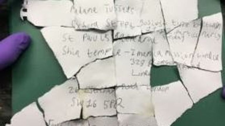 The letter detailing the plans that was found in a bin
