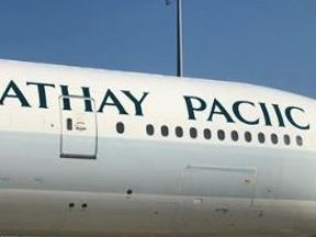 Cathay Pacific said the plane had to be 'sent back to the shop'. Credit: Twitter/Cathay Pacific