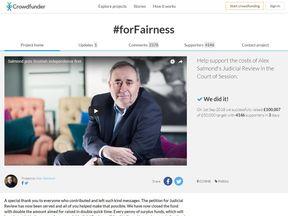 Alex Salmond fundraising page