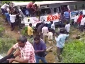 A bus has crashed in India, killing at least 55 people and injuring 33