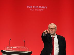 Labour Leader Jeremy Corbyn addresses delegates on the final day of the Labour Party conference