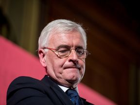 LONDON, ENGLAND - MARCH 09: Labour Party Shadow Chancellor John McDonnell whilst delivering a pre-spring statement on March 9, 2018 in London, England. The government will respond to the forecast from the Office for Budget Responsibility in a spring statement on March 13, 2018. (Photo by Chris J Ratcliffe/Getty Images)
