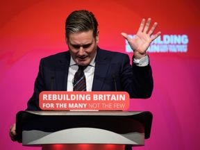 LIVERPOOL, ENGLAND - SEPTEMBER 25: Shadow Secretary of State for Brexit Keir Starmer addresses delegates in the Exhibition Centre Liverpool, during day three of the annual Labour Party conference, on September 25, 2018 in Liverpool, England. Labour's annual conference is taking place from September 23 - September 26, held under the official slogan 'Rebuilding Britain, for the many, not the few'. (Photo by Leon Neal/Getty Images)