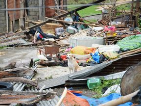 The typhoon has caused destruction on the northern tip of Luzon island