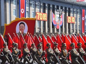 The parade was commemorating North Korea's 70th anniversary as a nation
