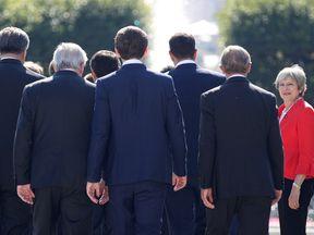 Theresa May at EU leaders' summit in Salzburg, Austria