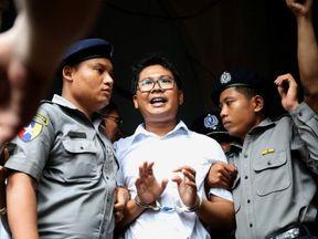 Reuters journalist Wa Lone departs Insein court after his verdict announcement in Yangon, Myanmar