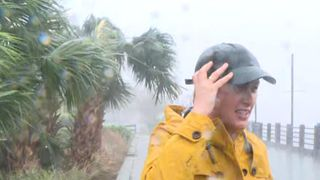 Sky's Amanda Walker breaces Huricane Florence as it hits North Carolina