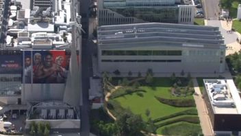 An aerial view showing part of Sky's campus in west London