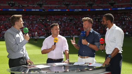 BT sport football analysts at Wembley Stadium on August 7, 2016 in London, England.
