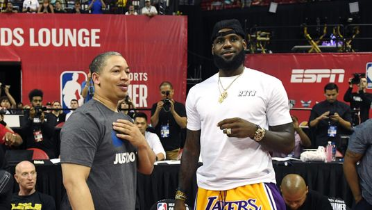 of the Los Angeles Lakers of the Detroit Pistons during a quarterfinal game of the 2018 NBA Summer League at the Thomas & Mack Center on July 15, 2018 in Las Vegas, Nevada. The Lakers defeated the Pistons 101-78. NOTE TO USER: User expressly acknowledges and agrees that, by downloading and or using this photograph, User is consenting to the terms and conditions of the Getty Images License Agreement.