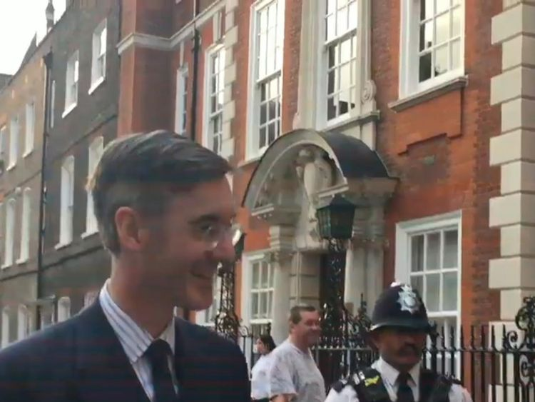Jacob Rees-Mogg outside his Westminster home