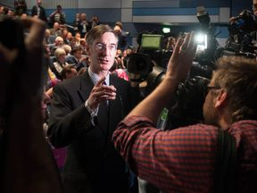 Jacob Rees Mogg attends a fringe event to discuss Brexit during the Conservative Party annual conference in Birmingham.