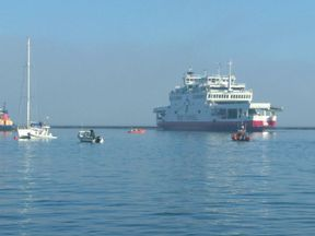 The Red Funnel ferry hit yachts as it ran aground