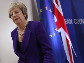 Theresa May during a news conference following the European Council summit