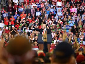 US President Donald Trump speaks during a rally at the Mid-America Center in Council Bluffs, Iowa on October 9, 2018