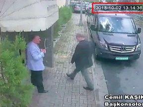 Saudi journalist Jamal Khashoggi entering the Saudi consulate in Istanbul on 2 October. Pic: Hurriyet