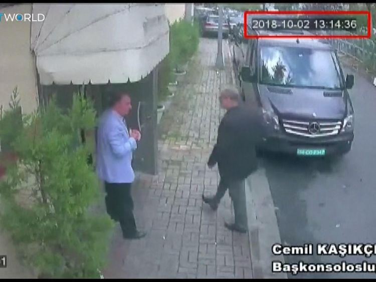 Jamal Khashoggi enters the Saudi consulate in Istanbul