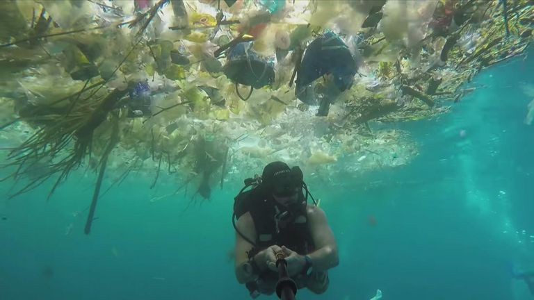 The video showed the shocking extent of the plastic pollution
