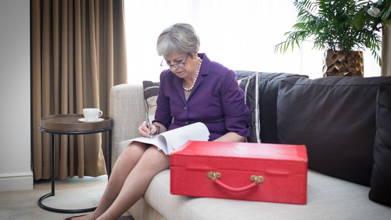 Prime Minister Theresa May prepares her keynote speech in her hotel room, during the Conservative Party annual conference at the International Convention Centre, Birmingham